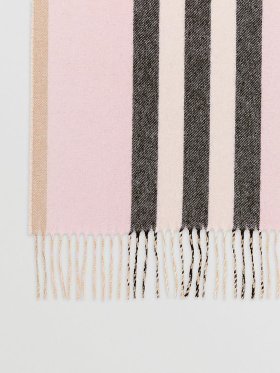 Reversible Icon Stripe Cashmere Scarf in Alabaster | Burberry - cell image 1