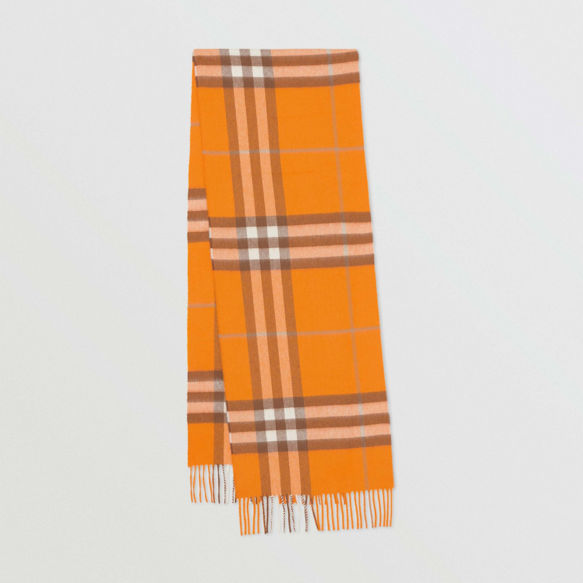 The Classic Check Cashmere Scarf in Orange | Burberry Canada - gallery image 0