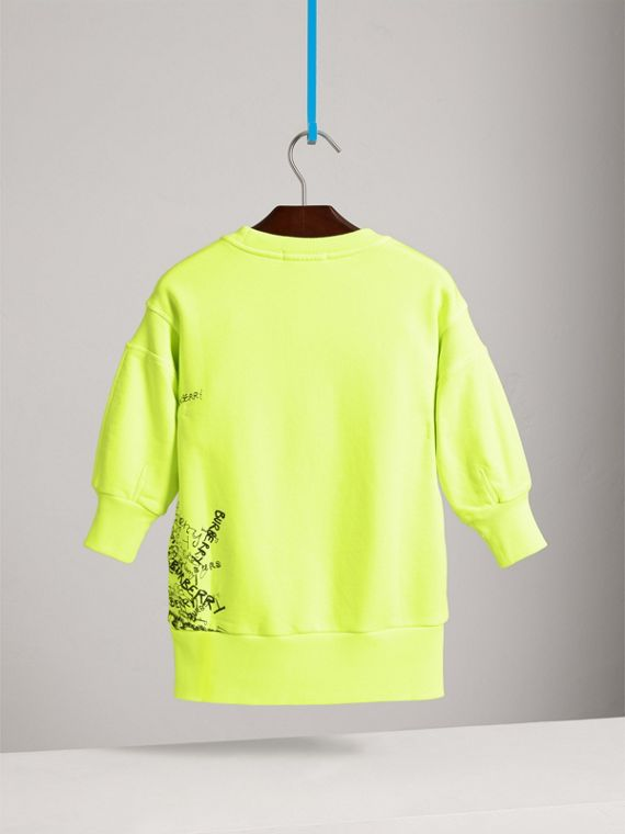 Doodle Print Cotton Jersey Sweater Dress in Bright Lemon - Girl | Burberry - cell image 3