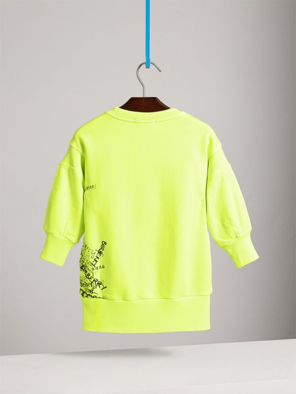Doodle Print Cotton Jersey Sweater Dress in Bright Lemon - Children | Burberry - cell image 3
