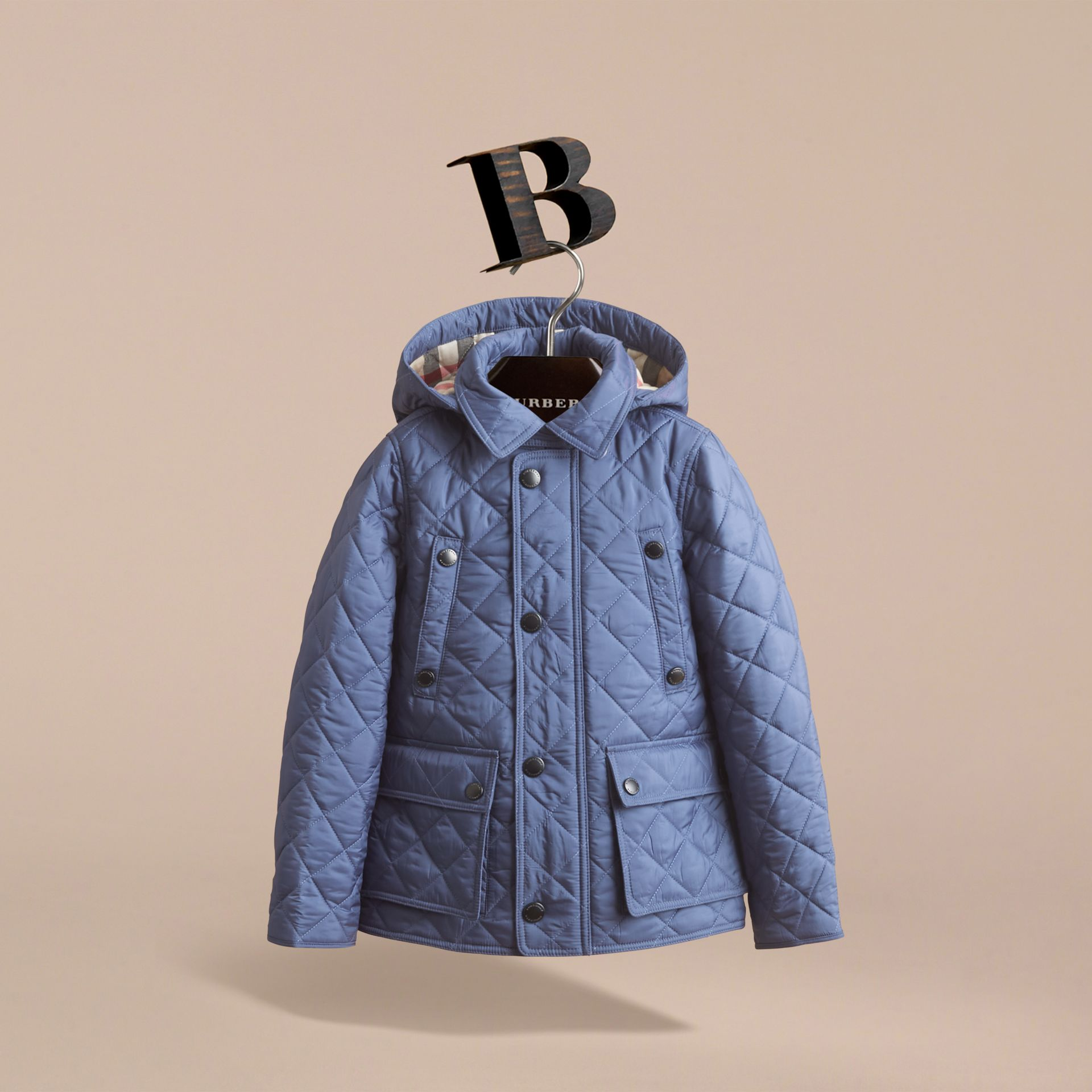 Detachable Hood Lightweight Quilted Jacket in Mineral Blue - Boy | Burberry United Kingdom - gallery image 3