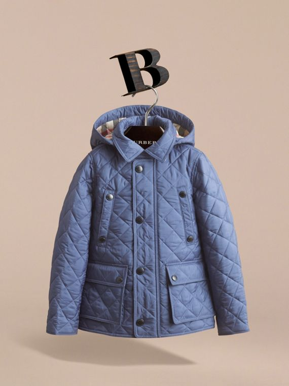 Detachable Hood Lightweight Quilted Jacket in Mineral Blue - Boy | Burberry - cell image 2