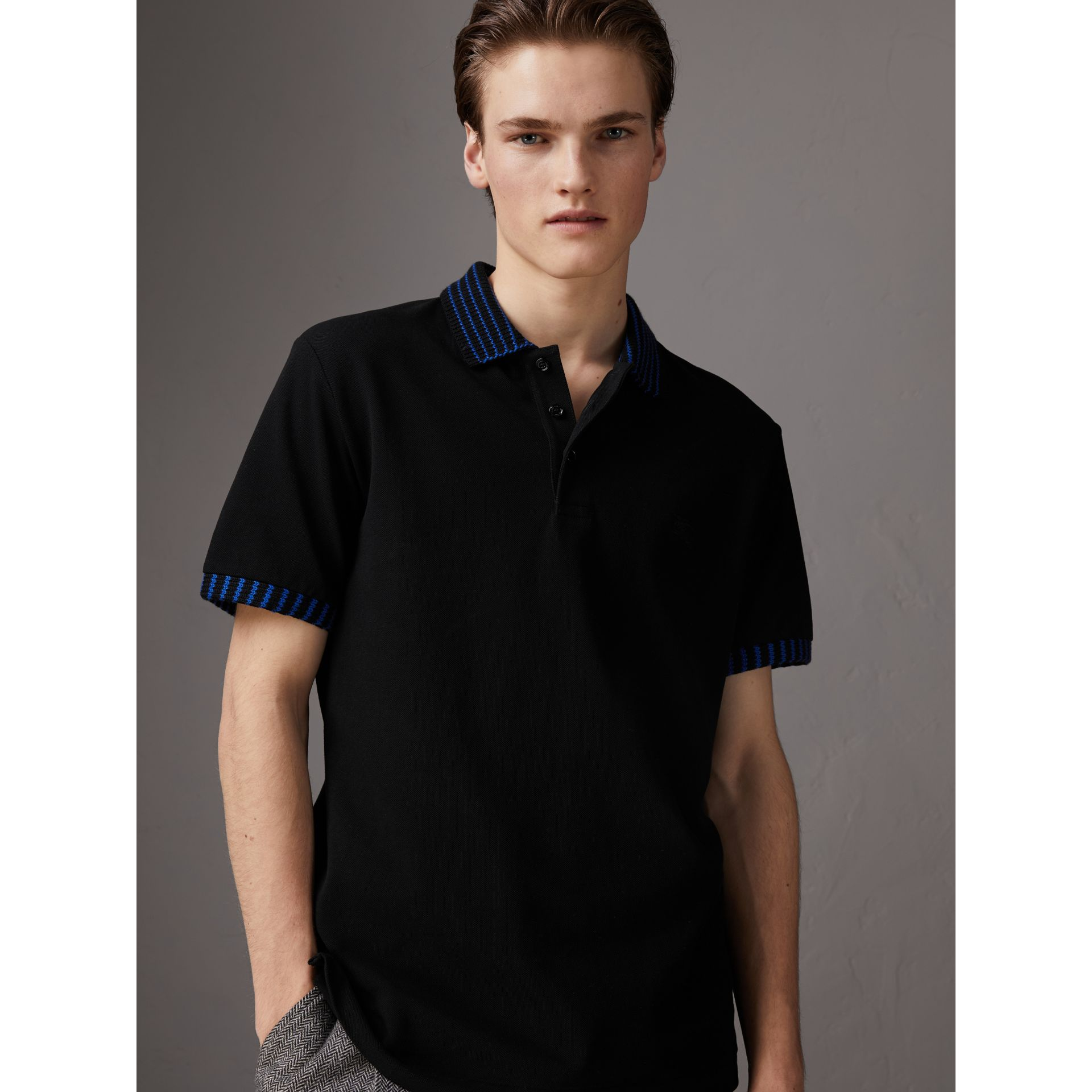 Knitted Detail Cotton Piqué Polo Shirt in Black - Men | Burberry Singapore - gallery image 0
