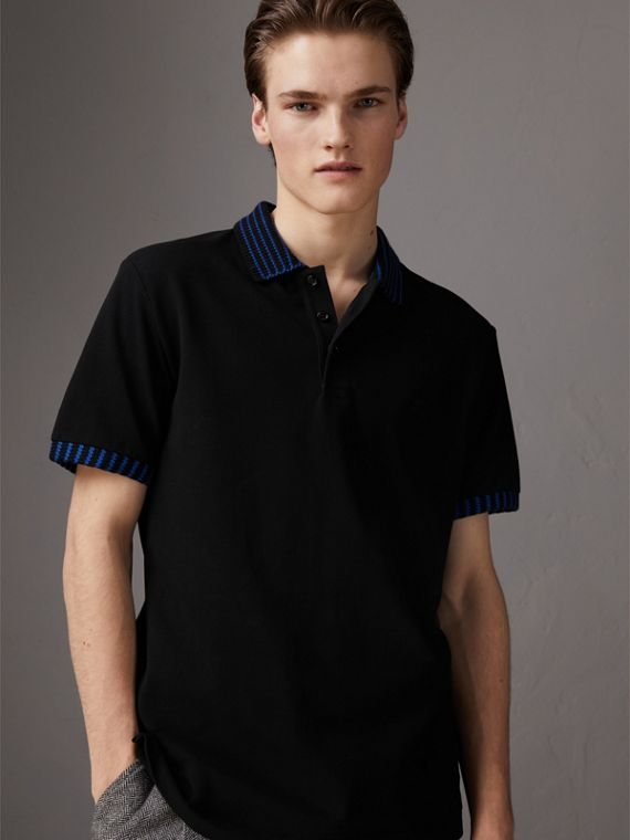 Knitted Detail Cotton Piqué Polo Shirt in Black