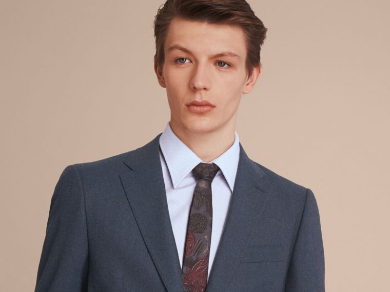 Slim Cut Beasts Jacquard Silk Tie in Navy Grey - Men | Burberry - cell image 2