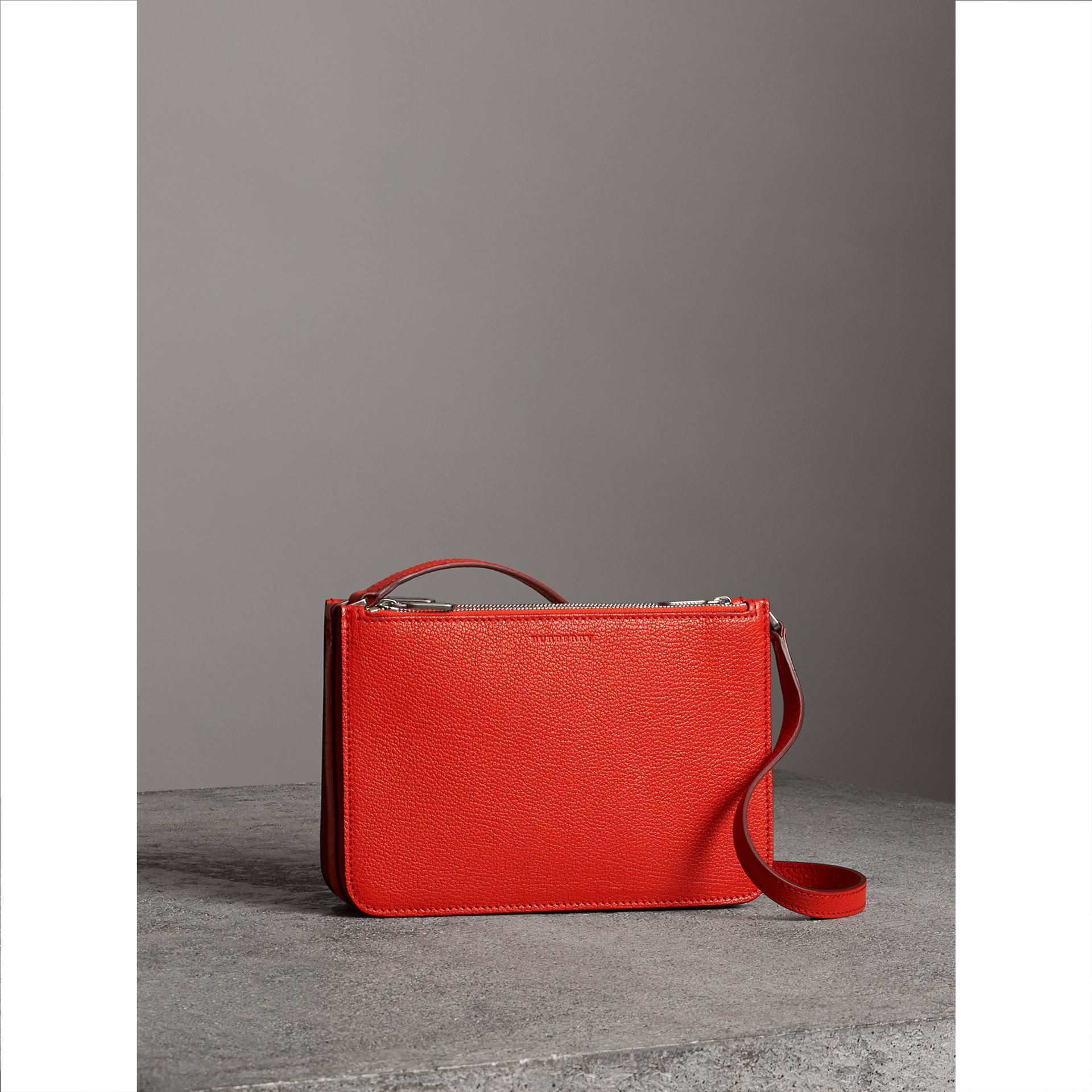 Triple Zip Grainy Leather Crossbody Bag in Bright Red - Women | Burberry United Kingdom - gallery image 6