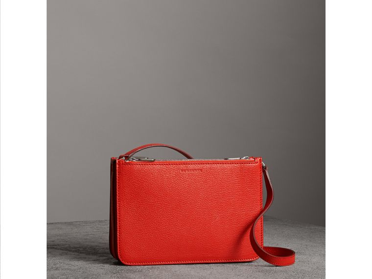 Triple Zip Grainy Leather Crossbody Bag in Bright Red - Women | Burberry Canada - cell image 4