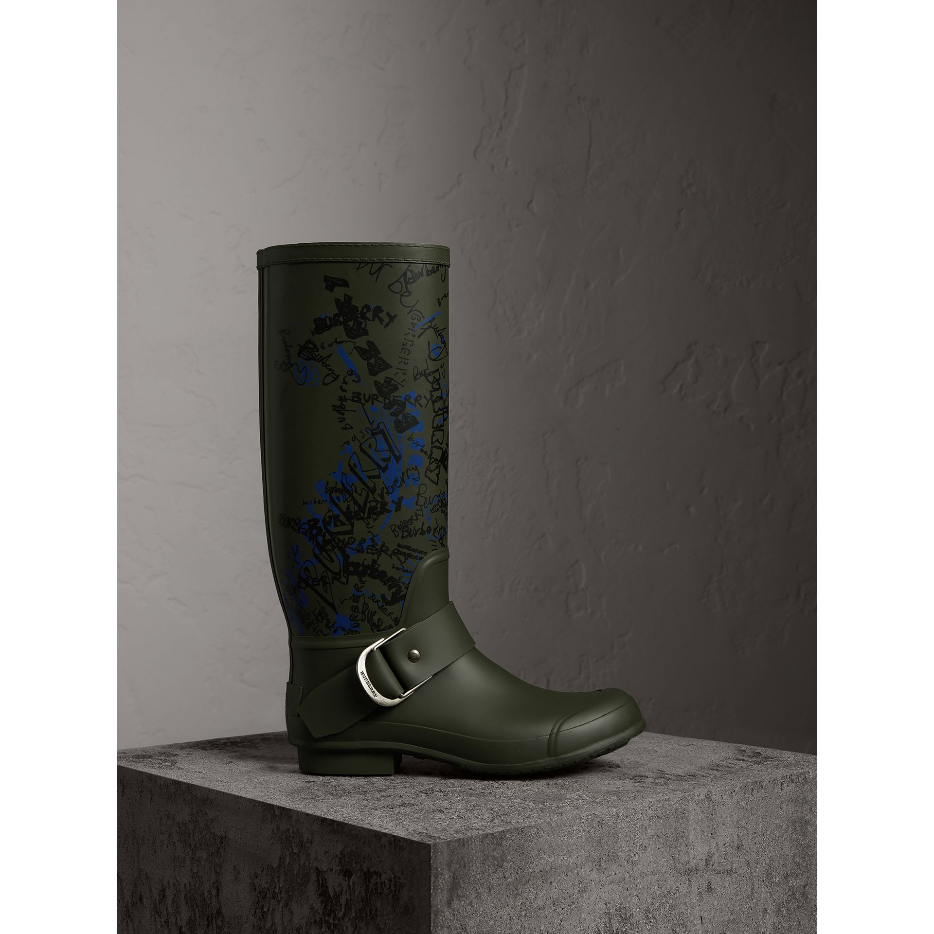 Doodle Print Rubber Rain Boots in Military Green - Men | Burberry United States - gallery image 1