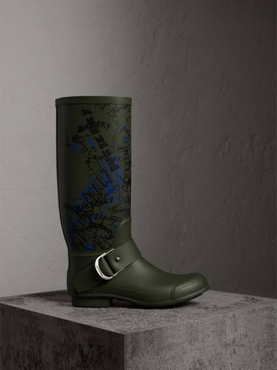 Doodle Print Rubber Rain Boots in Military Green