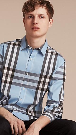 Camisa en algodón elástico de checks