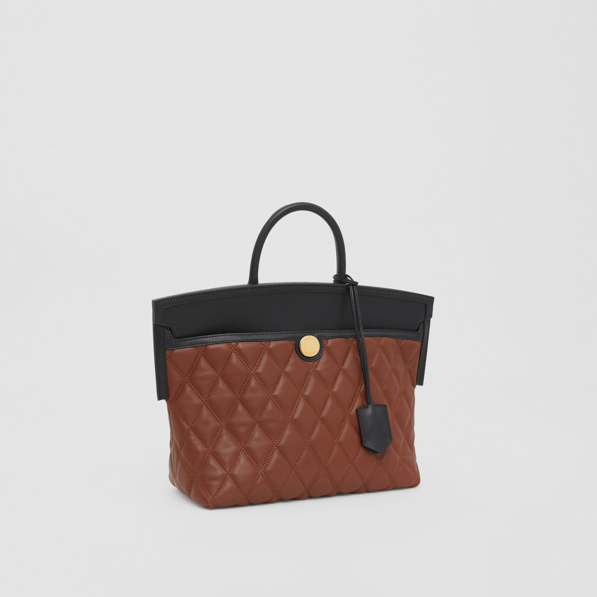 Small Quilted Lambskin Society Top Handle Bag in Tan - Women | Burberry United Kingdom - gallery image 6