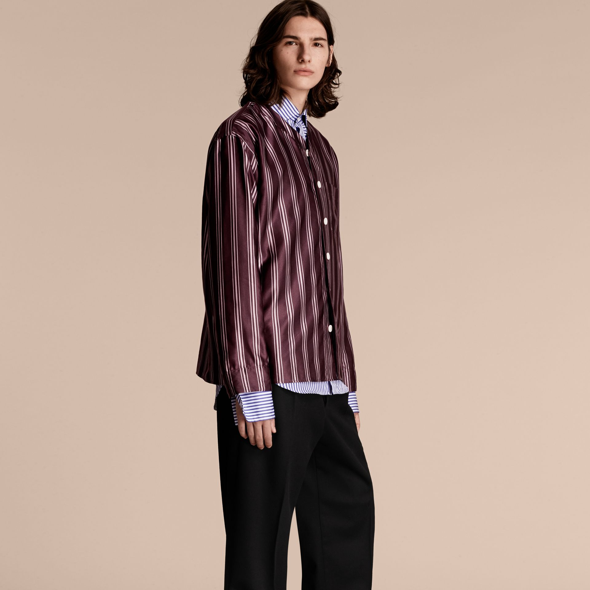 Crimson Striped Cotton Silk Collarless Shirt - gallery image 1