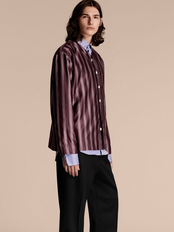 Striped Cotton Silk Collarless Shirt