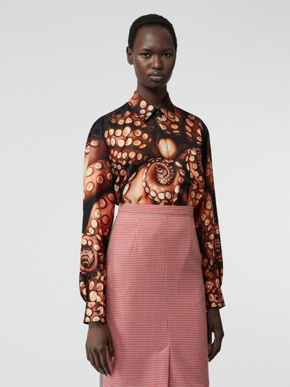Octopus Print Silk Twill Oversized Shirt in Apricot Pink