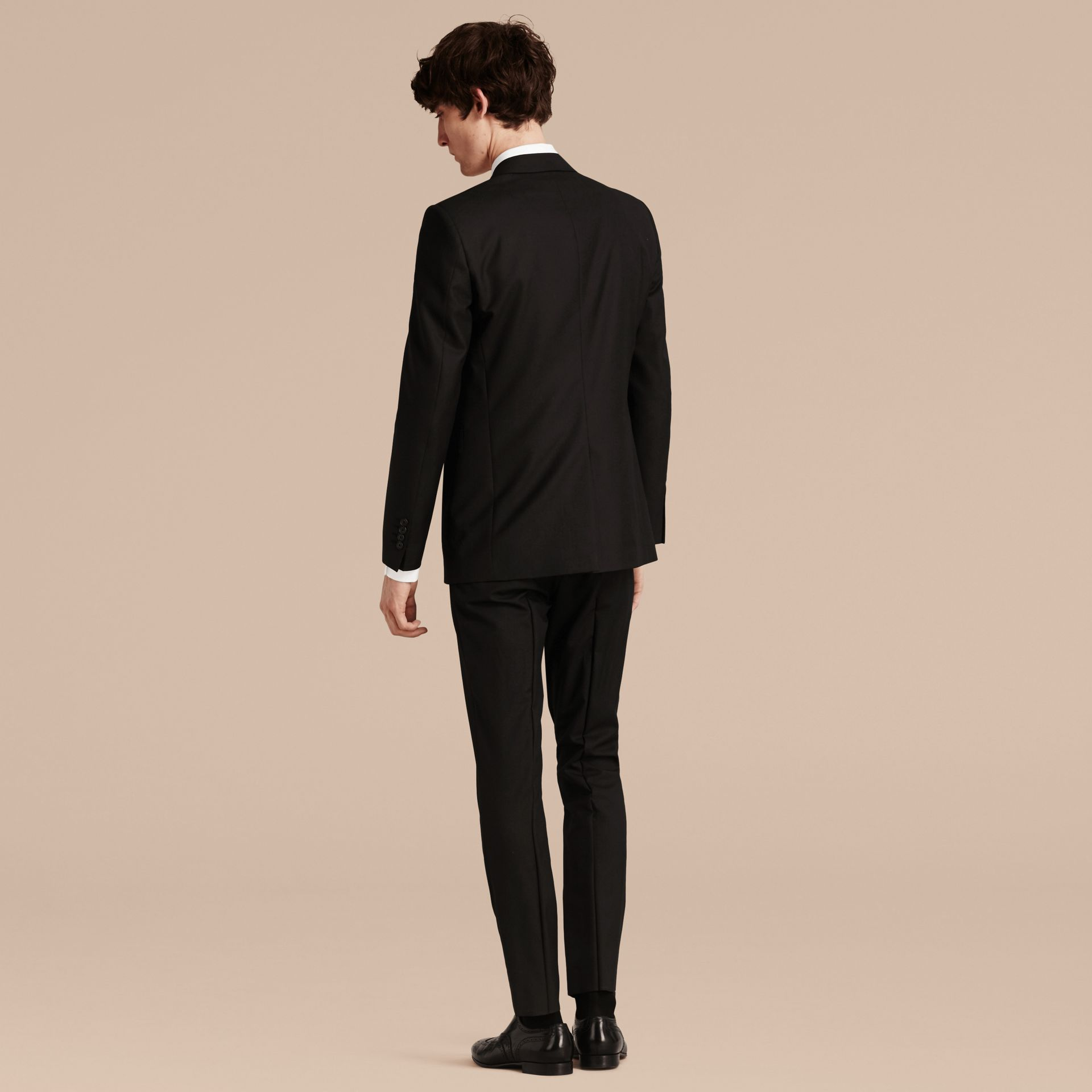 Black Modern Fit Wool Part-canvas Suit Black - gallery image 3