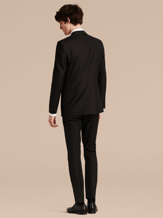 Black Modern Fit Wool Part-canvas Suit Black - cell image 2