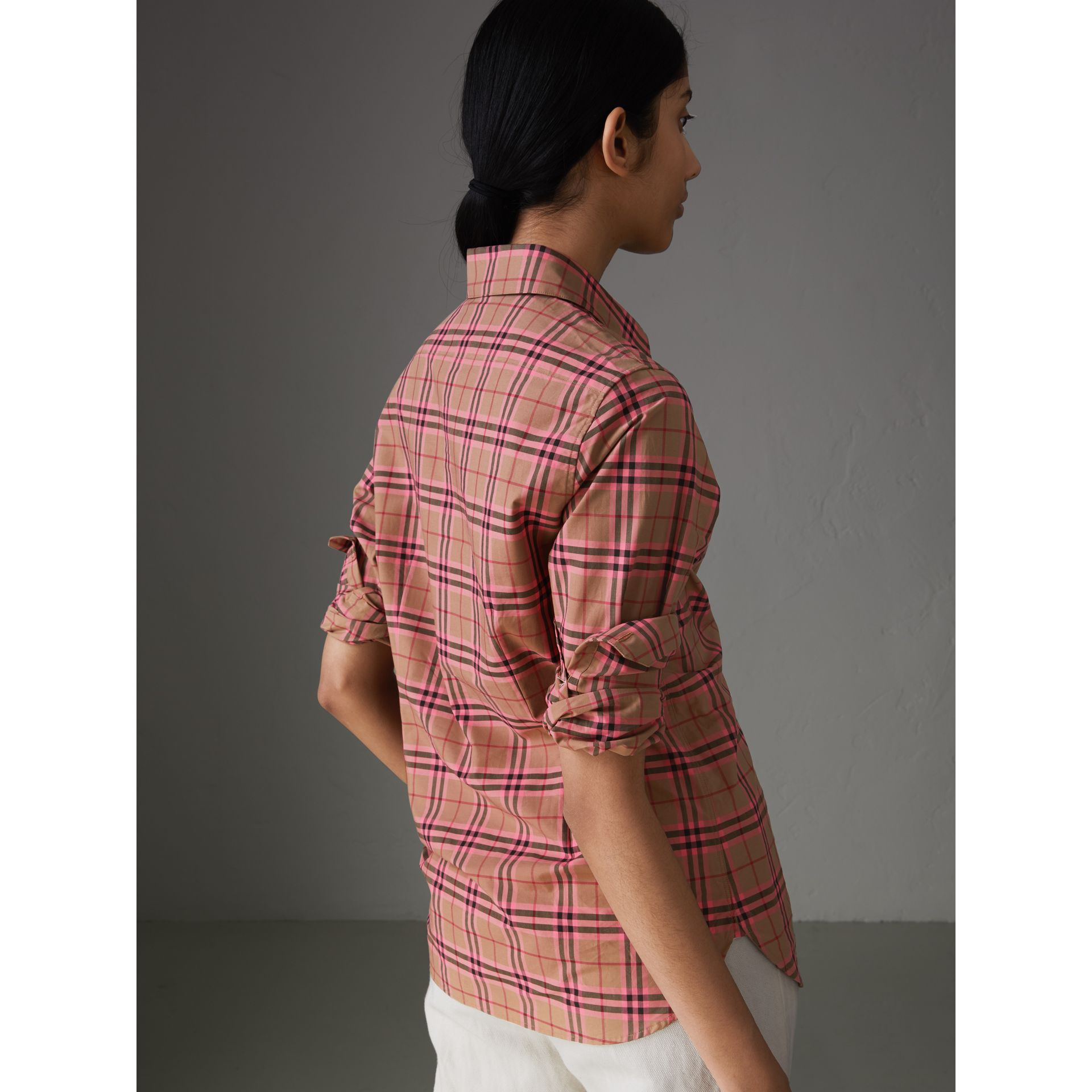 Check Cotton Shirt in Pomegranate Pink - Women | Burberry - gallery image 2