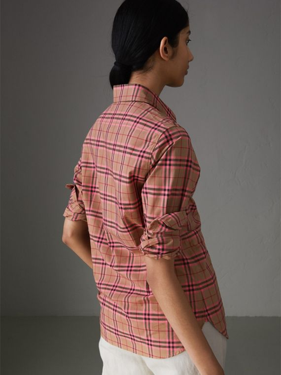 Check Cotton Shirt in Pomegranate Pink - Women | Burberry Australia - cell image 2