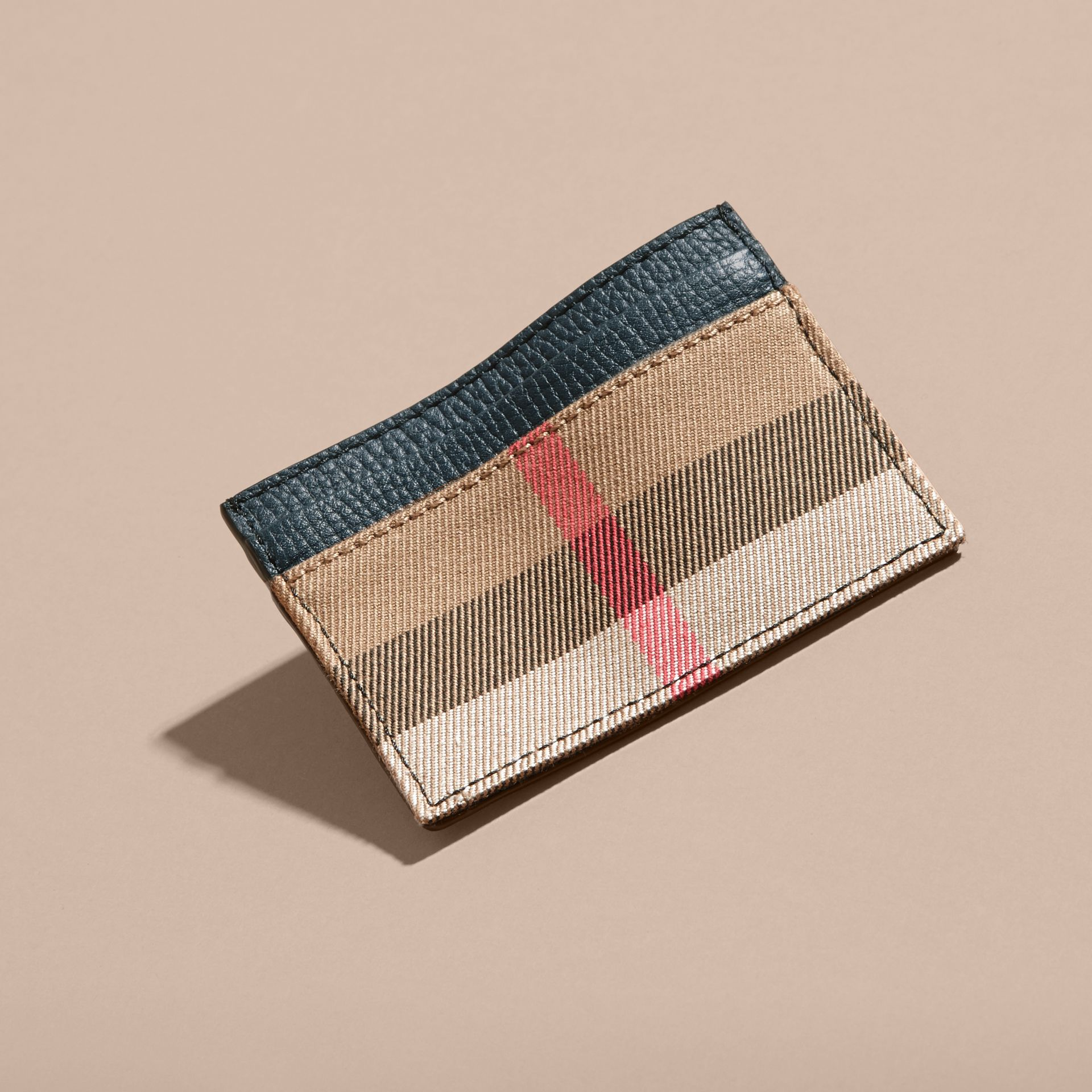 House Check and Grainy Leather Card Case in Storm Blue | Burberry Australia - gallery image 3
