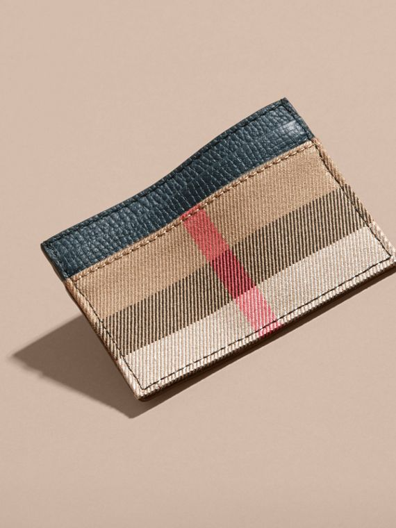 House Check and Grainy Leather Card Case in Storm Blue | Burberry - cell image 2
