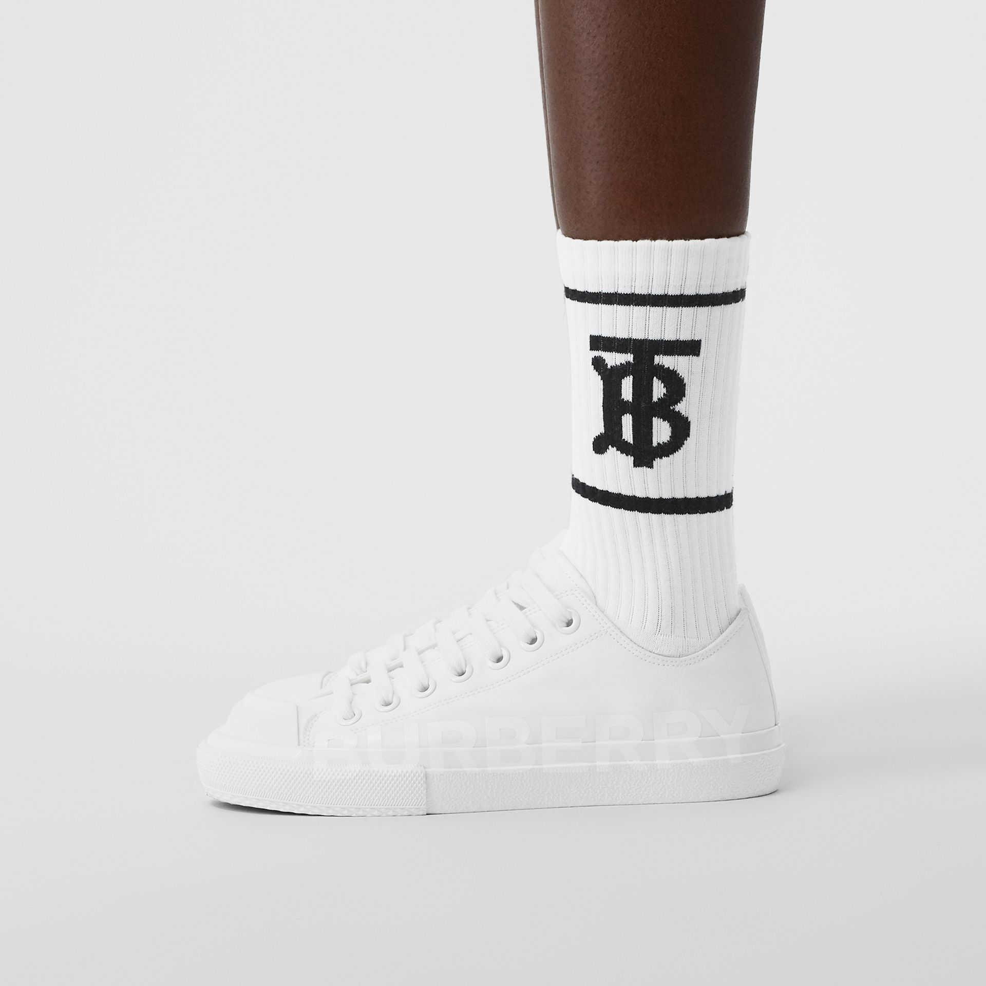 Monogram Motif Intarsia Socks in White | Burberry Singapore - gallery image 2