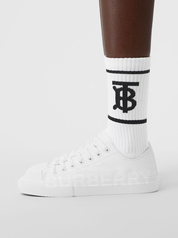 Monogram Motif Intarsia Socks in White | Burberry - cell image 2