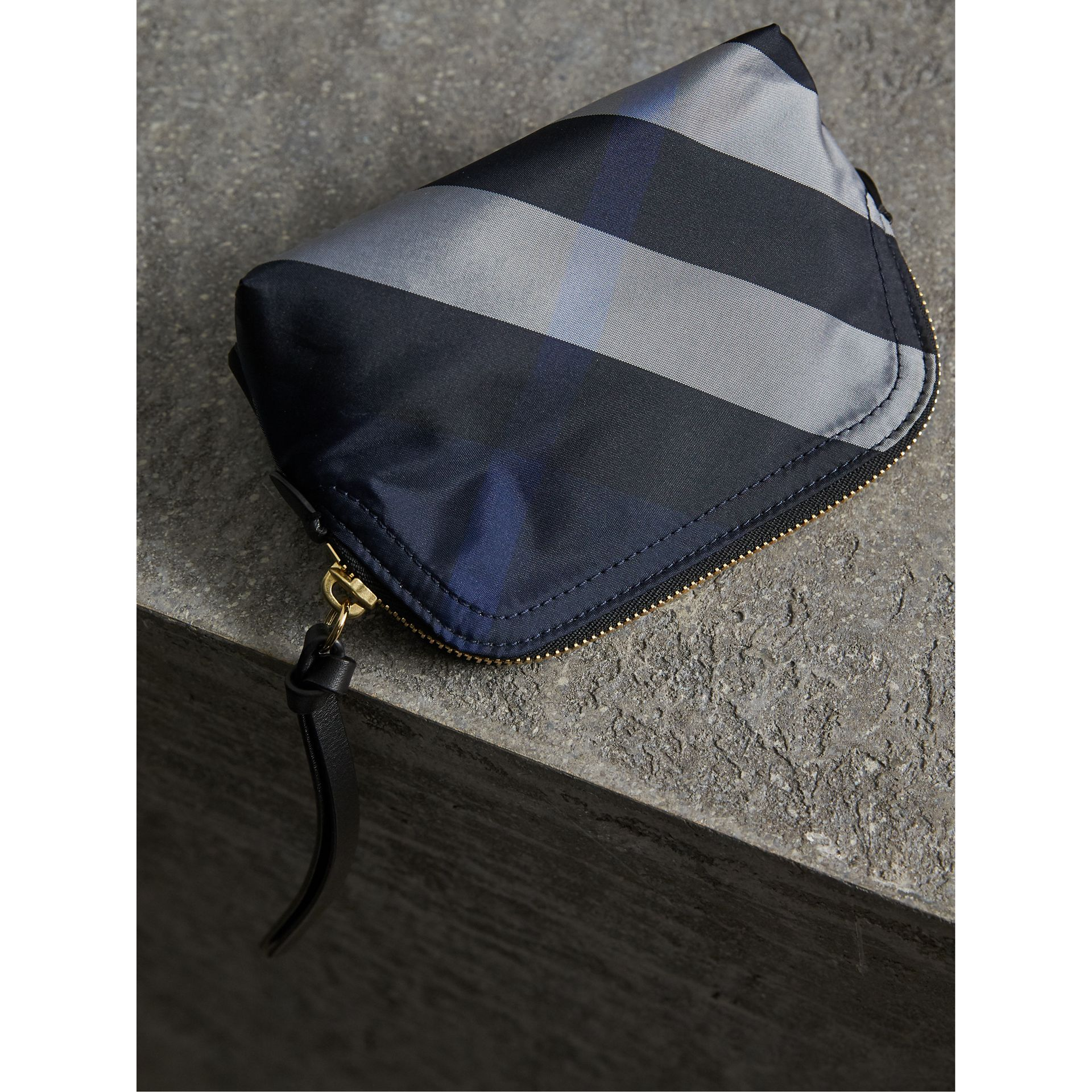 Small Zip-top Check Pouch in Indigo Blue - Women | Burberry United Kingdom - gallery image 3