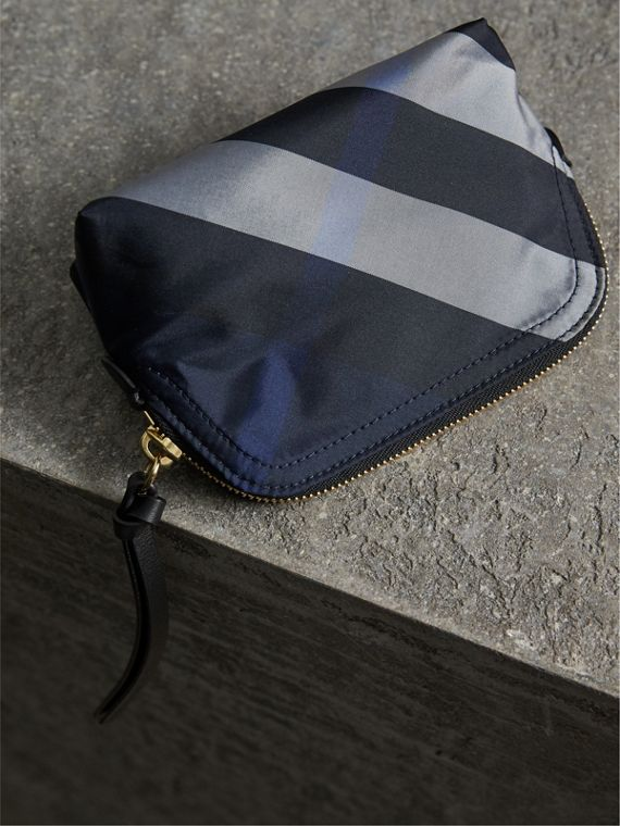 Small Zip-top Check Pouch in Indigo Blue - Women | Burberry United Kingdom - cell image 2
