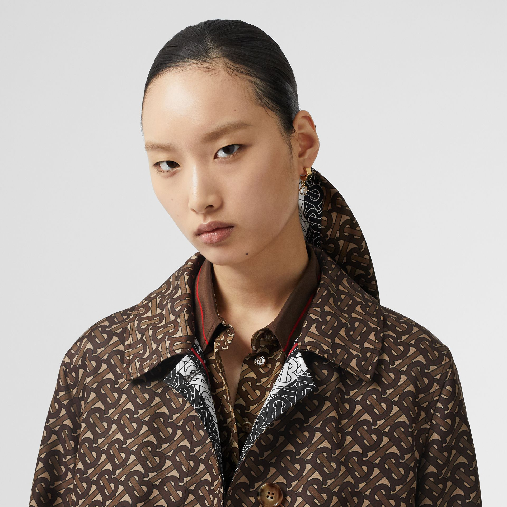 Monogram Stripe Print Nylon Car Coat in Bridle Brown - Women | Burberry - gallery image 1