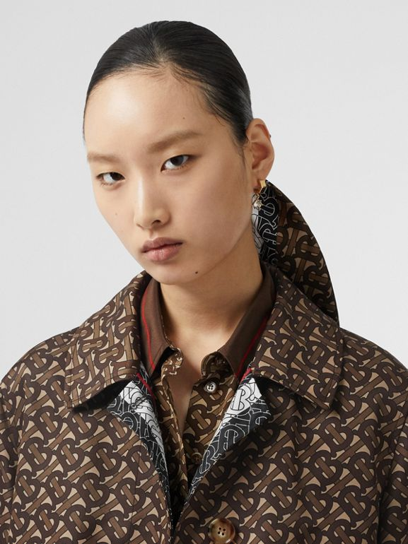Monogram Stripe Print Nylon Car Coat in Bridle Brown - Women | Burberry - cell image 1