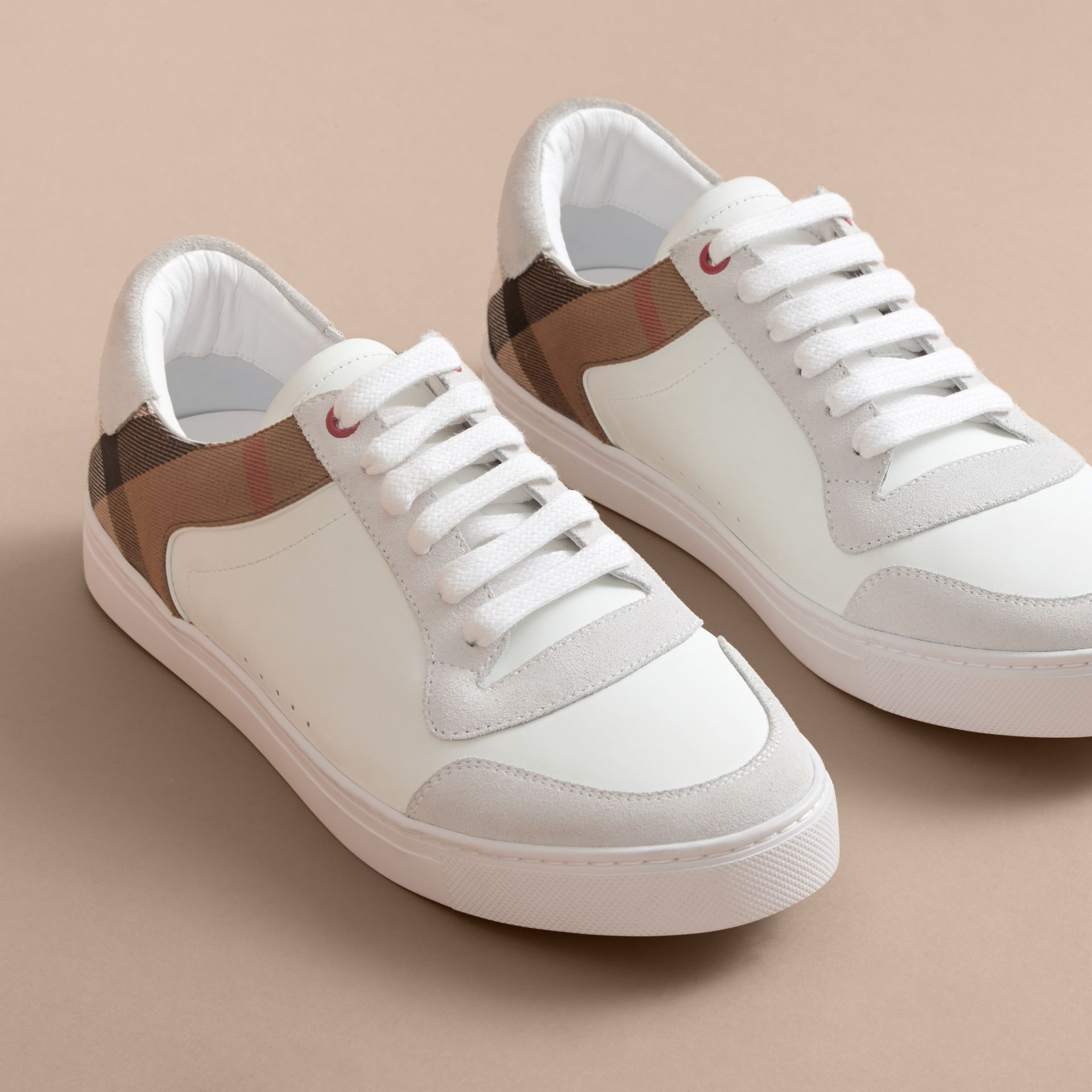 Leather and House Check Trainers in Optic White - Men | Burberry - gallery image 5