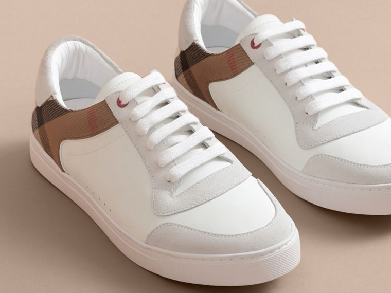 Leather and House Check Trainers in Optic White - cell image 4