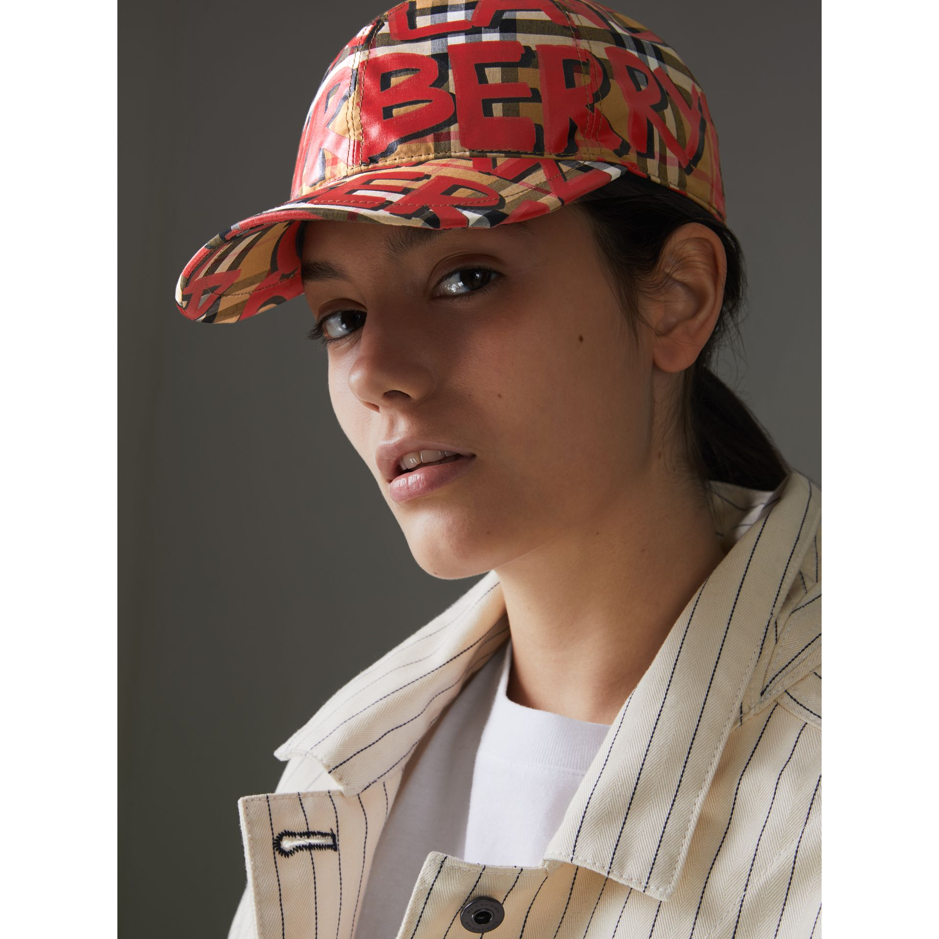 Graffiti Print Vintage Check Baseball Cap in Red | Burberry - gallery image 2