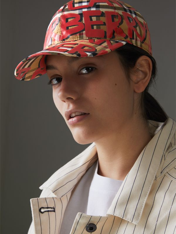 Graffiti Print Vintage Check Baseball Cap in Red | Burberry Australia - cell image 2