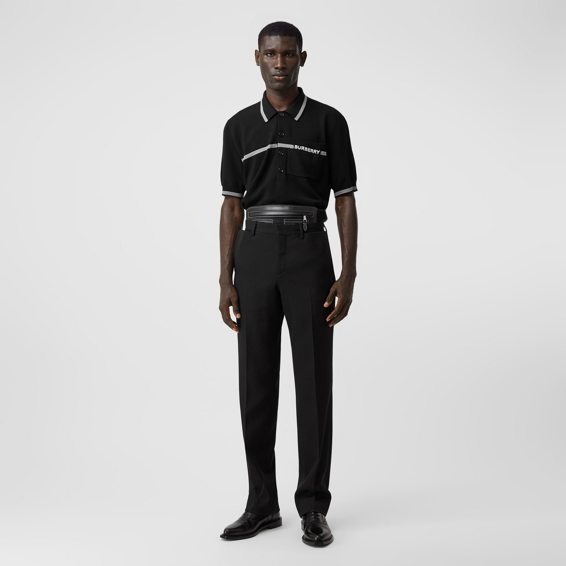 Logo Embroidered Wool Polo Shirt in Black | Burberry - gallery image 4