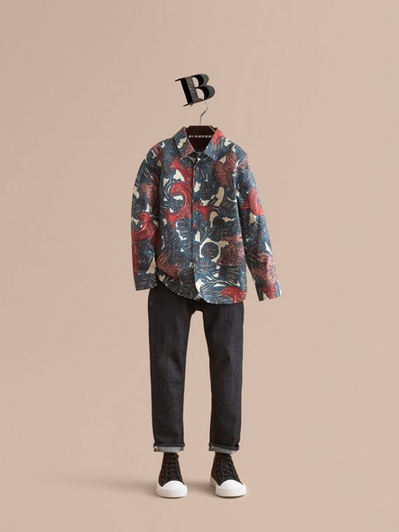 Beasts Print Cotton Shirt in Mineral Blue