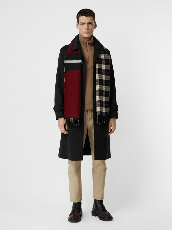 Reversible Stripe and Check Wool Cashmere Scarf in Black | Burberry United States - cell image 3