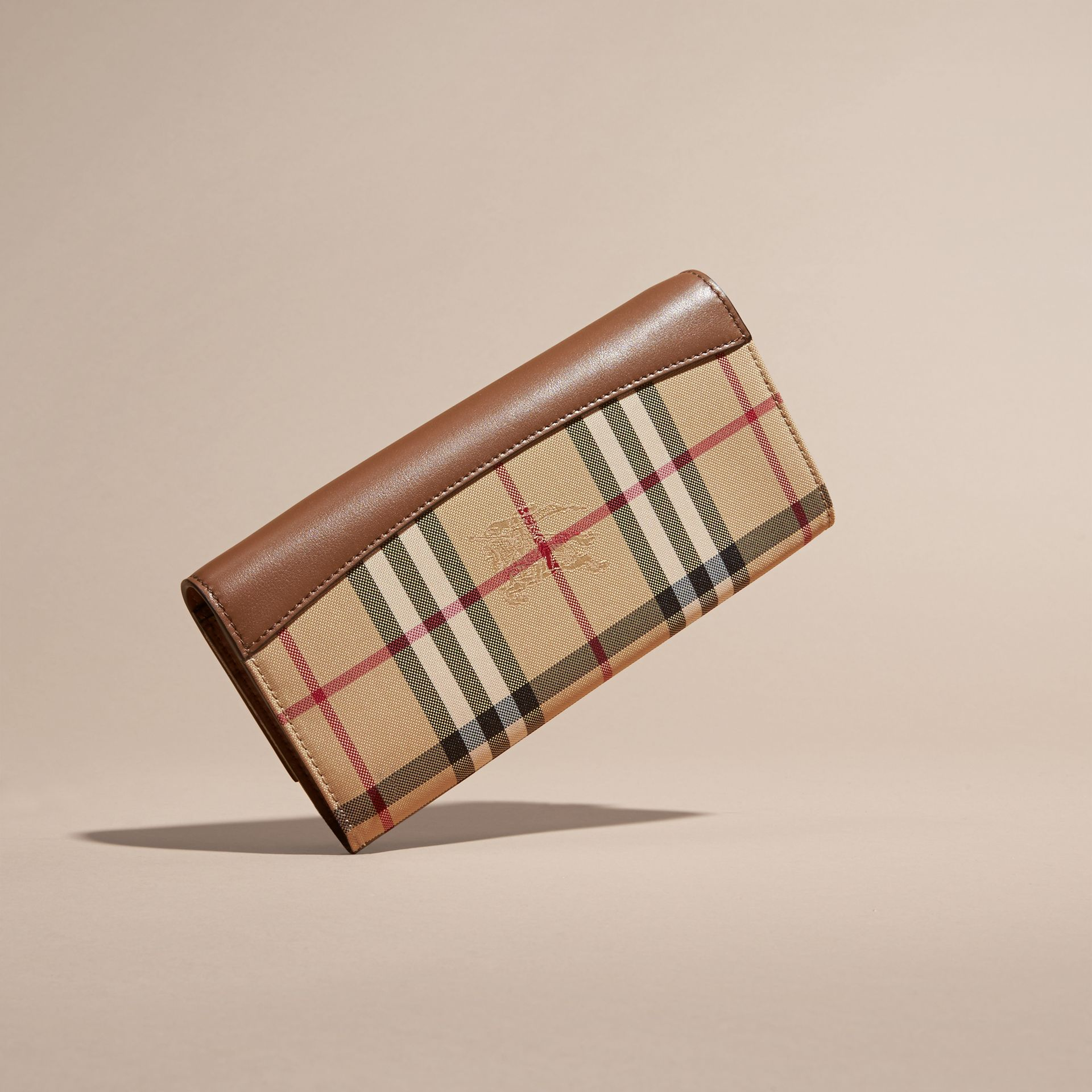 Horseferry Check and Leather Wallet with Chain in Tan - Women | Burberry - gallery image 4