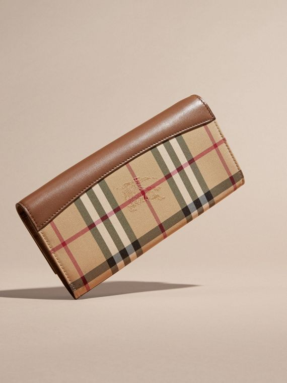 Horseferry Check and Leather Wallet with Chain in Tan - Women | Burberry - cell image 3