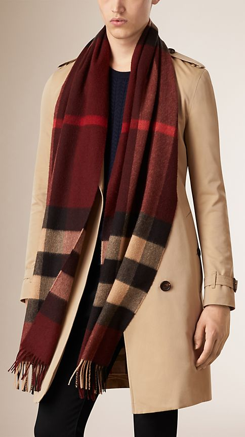 Claret check Giant Exploded Check Cashmere Scarf Claret - Image 3