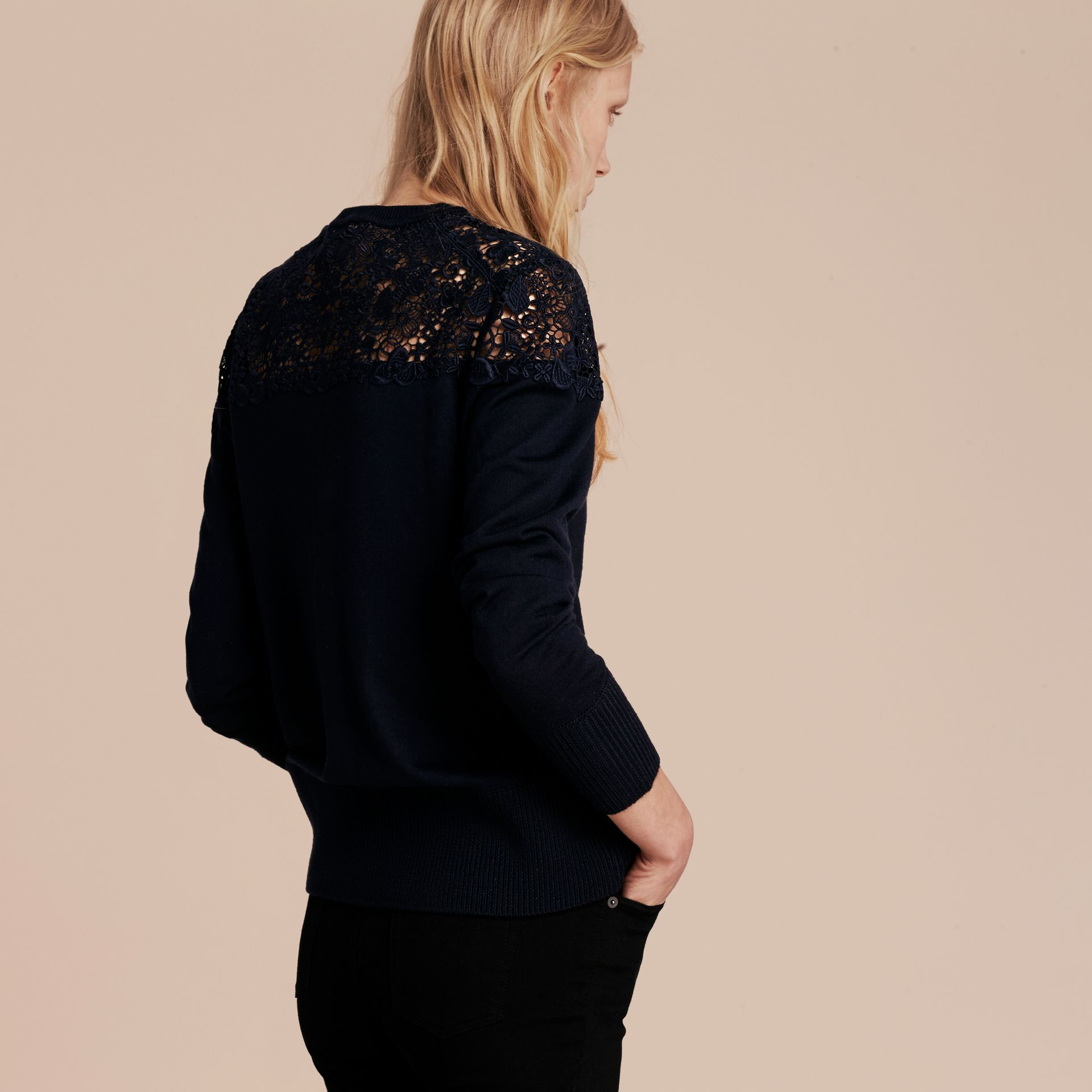 Navy Lace Yoke Merino Wool Cardigan Navy - gallery image 3