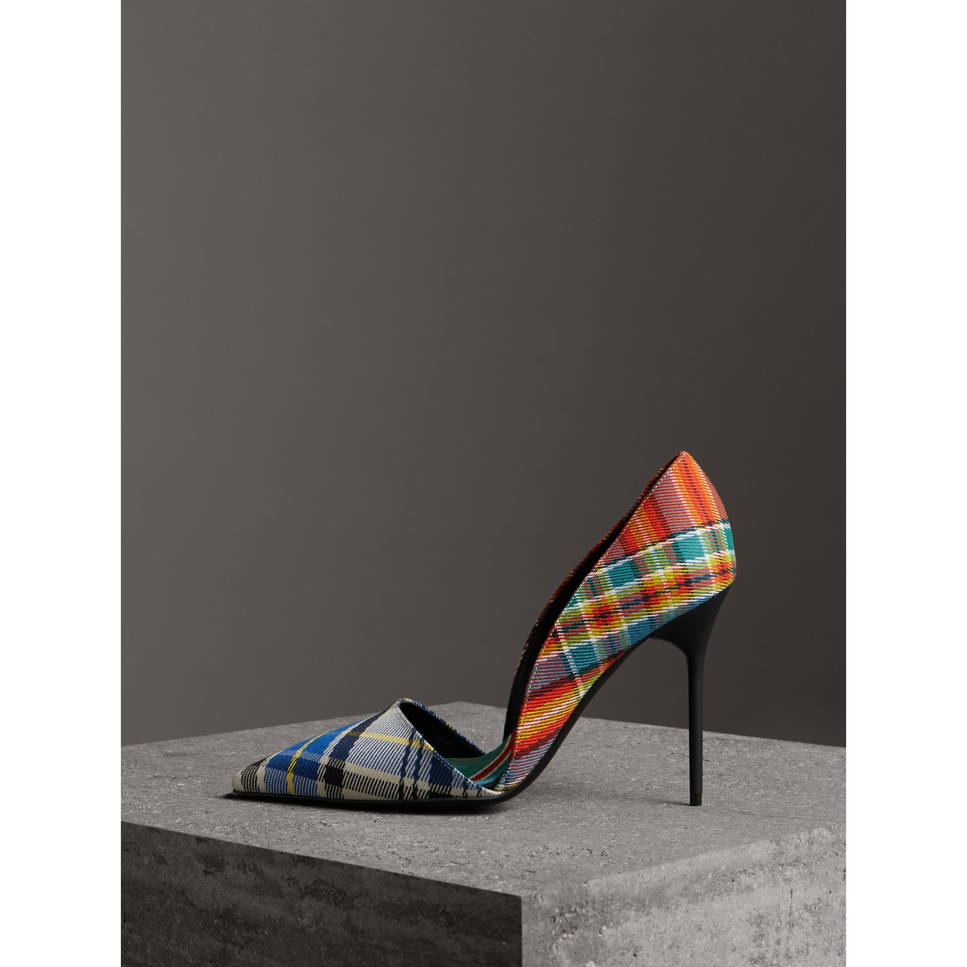 Tartan Cotton Pumps in Poppy Orange - Women | Burberry - gallery image 3