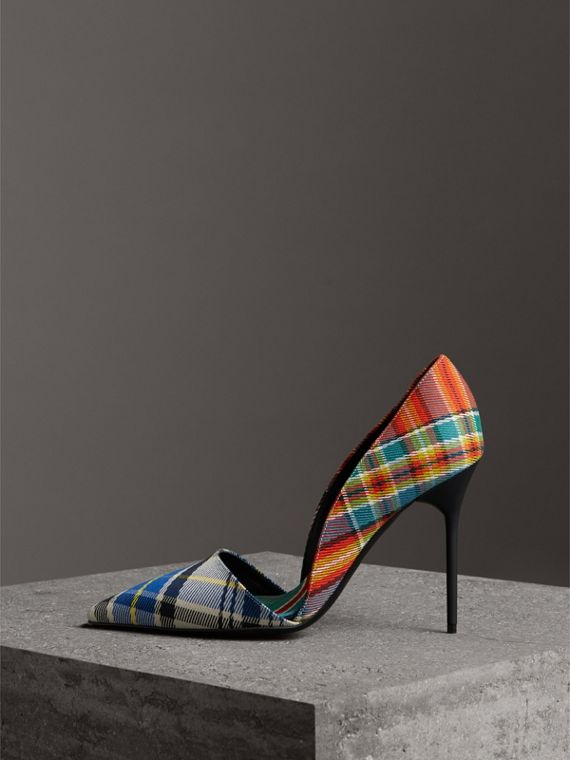 Tartan Cotton Pumps in Poppy Orange - Women | Burberry - cell image 3