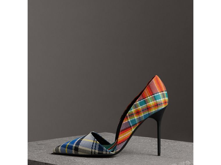 Tartan Cotton Pumps in Poppy Orange - Women | Burberry - cell image 4