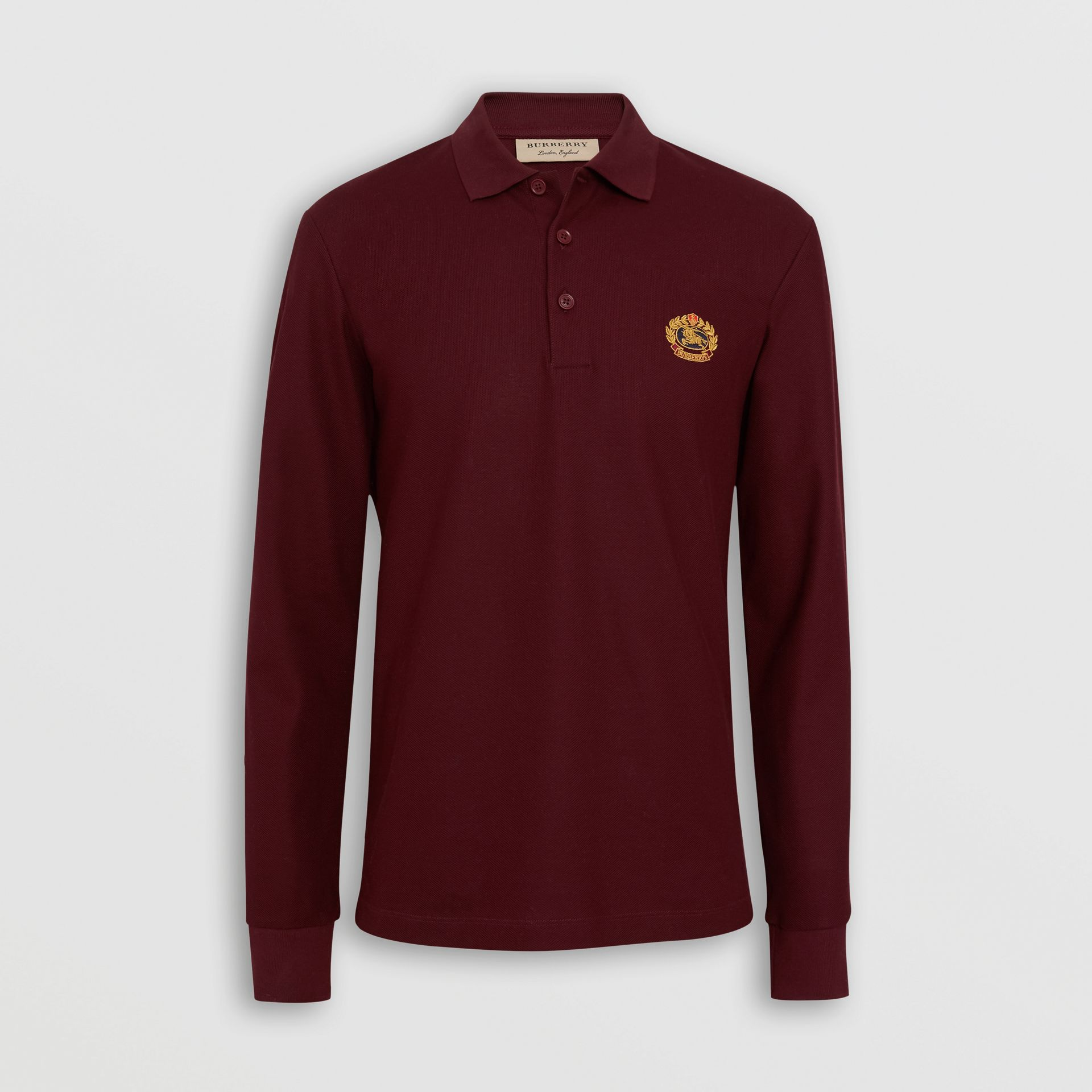 Long-sleeve Archive Logo Cotton Piqué Polo Shirt in Burgundy - Men | Burberry - gallery image 3
