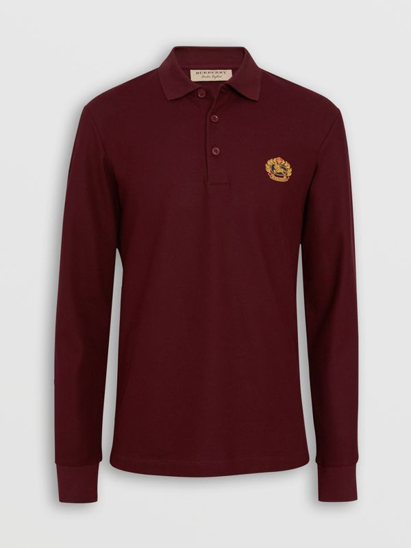 Long-sleeve Archive Logo Cotton Piqué Polo Shirt in Burgundy - Men | Burberry - cell image 3
