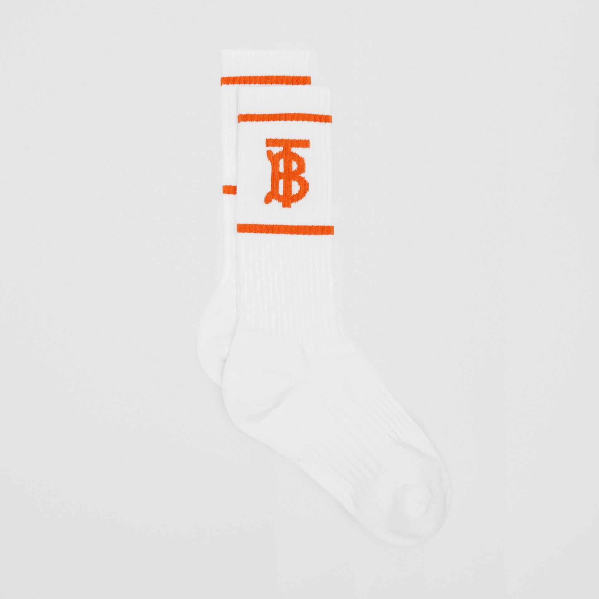 Calzini con motivo monogramma a intarsio (Bianco/arancio) | Burberry - immagine della galleria 2