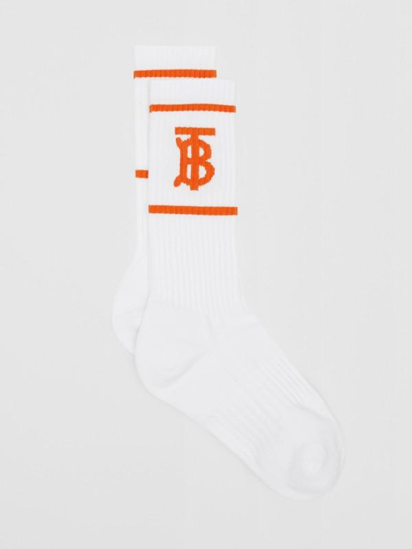 Calzini con motivo monogramma a intarsio (Bianco/arancio) | Burberry - cell image 2