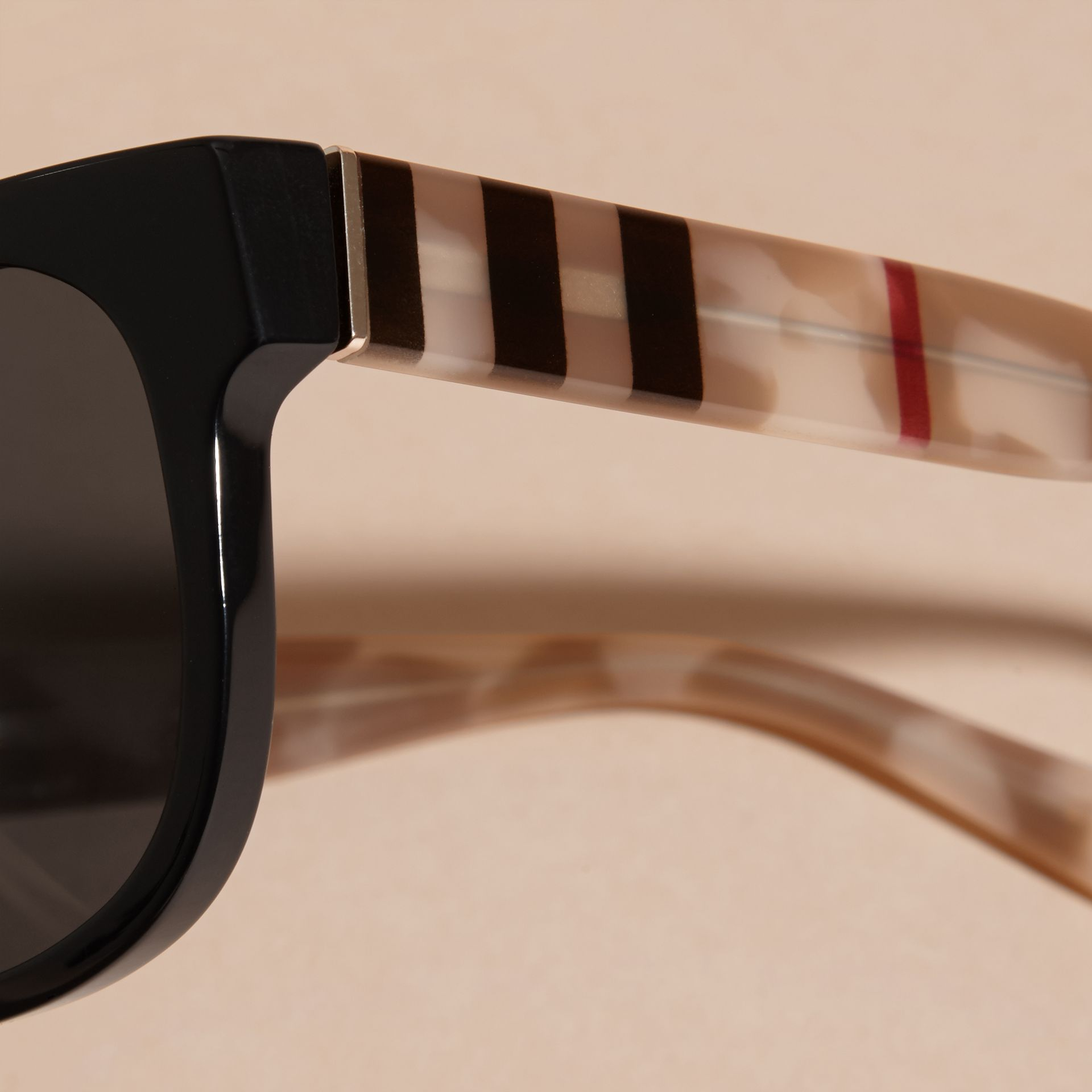 Check and Camouflage Detail Square Frame Sunglasses Black - gallery image 2