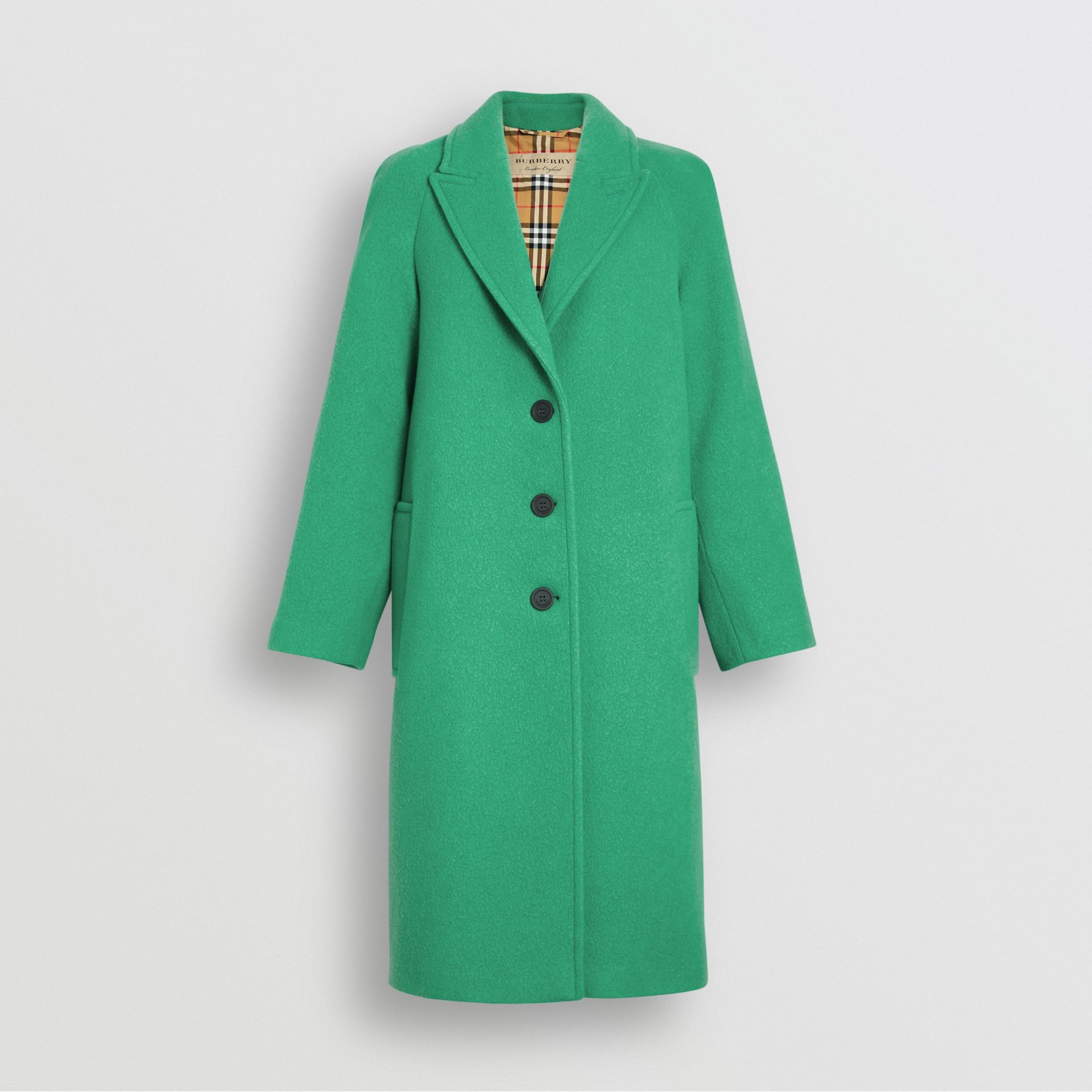 Wool Blend Tailored Coat in Bright Green - Women | Burberry United Kingdom - gallery image 3